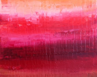 Red Abstract Painting, Ruby Red, Dark Chocolate Brown, Tangerine - Vibrant Oil painting,Textured, impasto.Cherry Red Painting