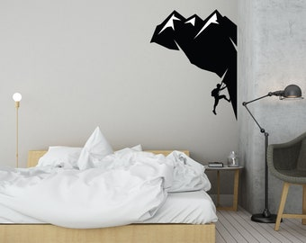 Climbing Mountain Decal- Wall Decal Vinyl Sticker for Home Interior Decoration Bedroom, Laptop, Window, Mirror, Car