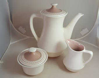 Harker Pottery Laurelton Coffee Pot, Cream & Sugar Tan