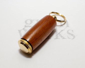 Deluxe Pill Holder Key Chain - Padauk Wood with 10kt Gold Accents (Gift Ready)