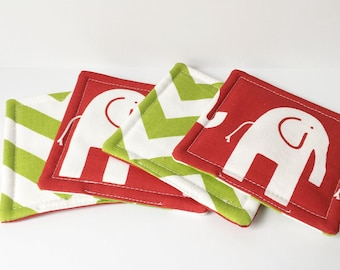 Red Coasters Chevron Elephant Fabric Reversible Coasters Fabric Coasters Cotton Set of 4 Modern Home Decor