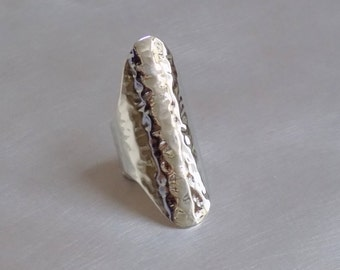 Hammered Wide Band Silver Ring - Sterling Silver 925 Cuff