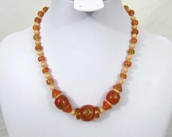 "Czech glass choker necklace - Deco-30s Amber & apricot beads - 15.5"" - marked"