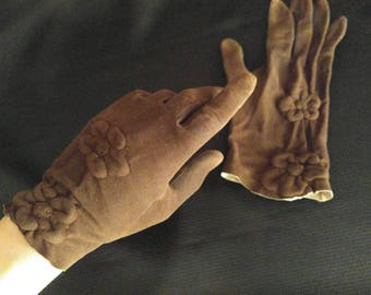 1950s brown leather gloves