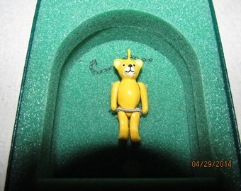 Reserved Zahava  Vintage Minnie Maria Miniature Jointed Hand Painted Pewter Yellow  Teddy Bear Necklace Stratford on Avon Great Britain