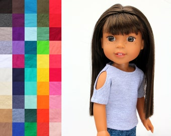 Fits like Wellie Wishers Doll Clothes - Short Sleeve Open Shoulder Top, You Choose Color   14.5 Inch Doll Clothes