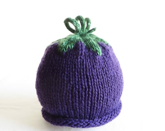 Grape Eggplant Plum Hat - Soft Hand Knit - Child size - Made to Order