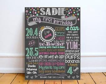 Winter wonderland first Birthday- chalkboard - Personalized & Printable - Birthday Chalkboard Poster - snowflakes - first birthday - winter