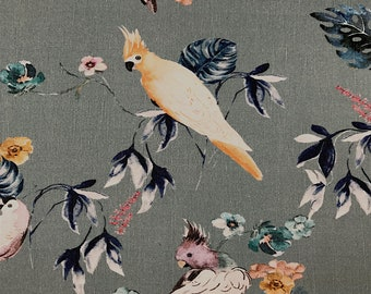 Flowers and birds printed cotton Velvet