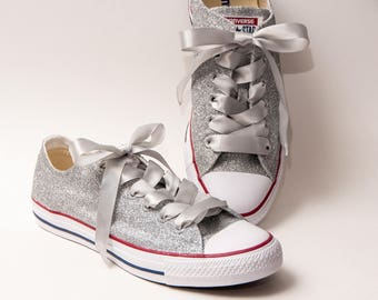 Glitter - Silver Canvas Converse All Star Low Top Sneakers Shoes with Satin Ribbon Laces