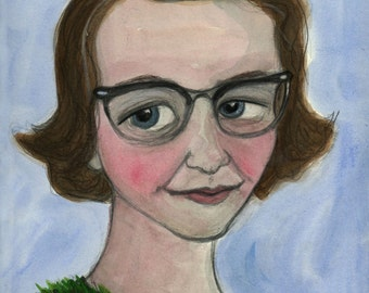 Flannery O'Connor Art Print, Literary Portrait (6x8) Southern Gothic Writer, Library Decor