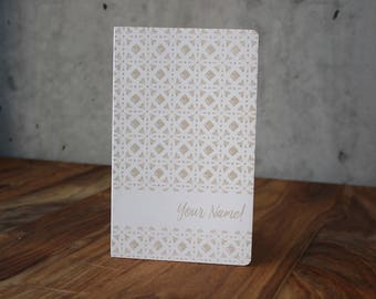 """Personalized White Leather Moleskine Notebook Sketchbook - Hand Drawn Pattern (Custom Name) - Gift - Laser Engraved - 5"""" X 8.25"""""""