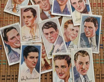 Hollywood Film Stars:  The Men!  1938 Cigarette Card Lot of 36 cards!