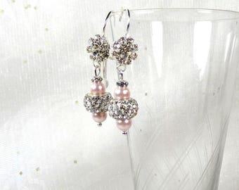 Earrings wedding Crystal and Swarovski - rhinestones and pearls-Collection Glamour wedding earrings - earrings strss Crystal pink wedding