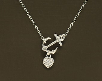 Sideways Silver Anchor Necklace with Pave Heart - Sterling Silver Chain