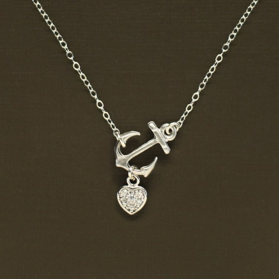 Sideways silver anchor necklace with pave heart sterling like this item aloadofball Images