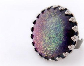 Rainbow mermaid adjustable ring, kawaii fairy kei jewelry, glitter ring, gift for her