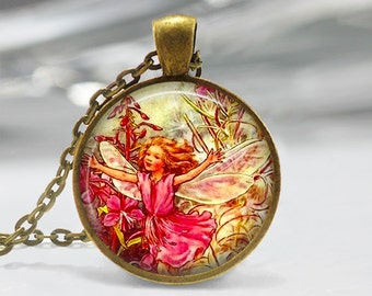 Fairy Pendant, Fairy Necklace, Fairy Jewelry, Fairy Jewellery, Vintage Fairy Art Pendant, Glass Dome Pendant, Faerie, Whimsical Fairy 1228