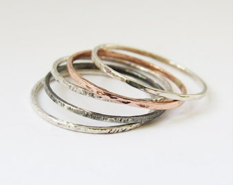 Set of 5 Mixed Super Thin Rings, Hammered Silver Rings, Copper Ring, Oxidized Ring, 925 Sterling Silver Rings,  Dainty Stacking Rings