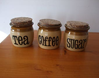 T. G. Green ceramic storage canisters - Tea, Sugar & Coffee