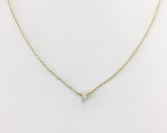 14K Gold Necklace, Yellow Gold Necklace, White Diamond Necklace