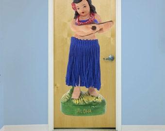Hula Doll With Ukulele Blue Tiki Wall Decal - #58881