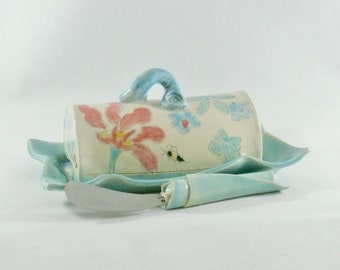 Ceramic Lidded butter dish, Traditional Butterdish, Artistic Colorful butter keeper, Covered tray for oleo, margarine sticks
