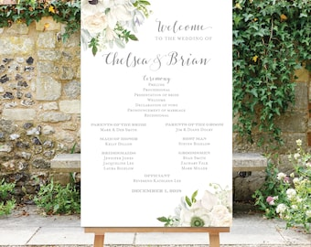 Wedding Program Sign - Large Wedding Program Sign - Wedding Party Sign - White Flowers - Digital File - Printable - Floral - The Grace