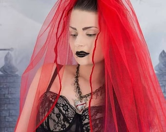 Scarlet red tulle mourning veil, wedding, gothic