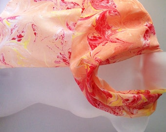 Marbled orange scarf, hand painted silk scarf, peach scarf, ready to ship