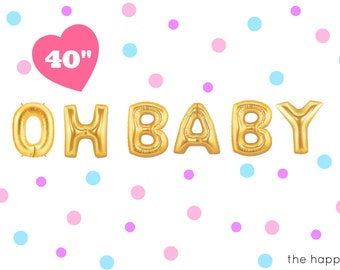 "40"" Gold OH BABY balloons/banner. Baby shower balloons. Mom to be balloons. Baby balloons. Oh baby balloons. Baby shower decor. Baby shower"