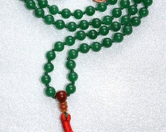 108 Green Mala Beads, Knotted Mala Tassel Necklace, Yoga Jewelry - Green Aventurine - Reinforces Decisiveness, Positive Attitude,Leadership
