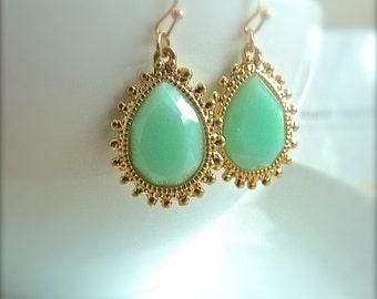 Mint Seafoam Teardrop Gold Textured Bezel Earrings. Mint Jewelry. Seafoam bridesmaids jewelry