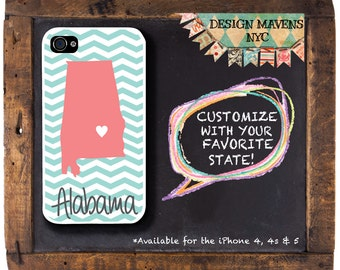 Alabama iPhone Case, Gift for Her iPhone, Personalized iPhone, iPhone 4, 4s, iPhone 5, 5s, 5c,  iPhone 6, 6s, 6 Plus, SE, iPhone 7, 7 Plus