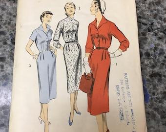 1950S Advance Sewing Pattern 7915 Misses Tailored Shirtwaist Slim Dress  Size 18 cut- 1950s dress pattern, shirtwaist dress, tailored dress