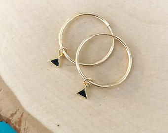 20mm Gold Endless Hoop Earrings with Black Enamel Triangle Charm -'safe for sensitive skin