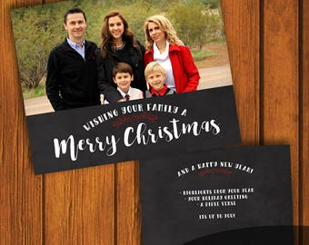 Merry Christmas Card / Photo Christmas Card / Custom Photo Christmas Card / Holiday Card / Photo Greeting Card  / 6x7.5 Inches