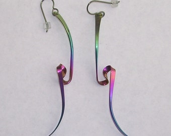 Niobium  Rainbow Vortex Earrings 3 Inches - The Experience-
