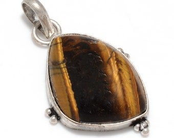 Antique Tiger Eye 925 Silver Pendant