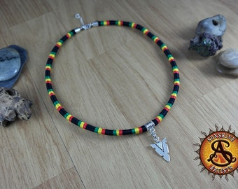 Rasta necklace with Spear Head charm, handmade with embroidery cotton threads in black red yellow and green, festival wear, funky jewelry