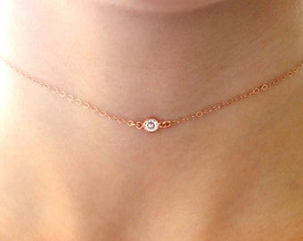 Rose Gold Crystal Choker Necklace, Rose Choker Necklace with Stone, Pink Gold Necklace, Small Solitaire Necklace, Dainty Rose Gold Necklace