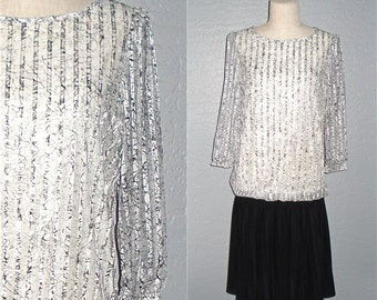 Vintage 80s cocktail dress DROPPED WAIST black and white - L