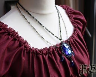 Royal Blue Gothic Lolita Cameo Necklace