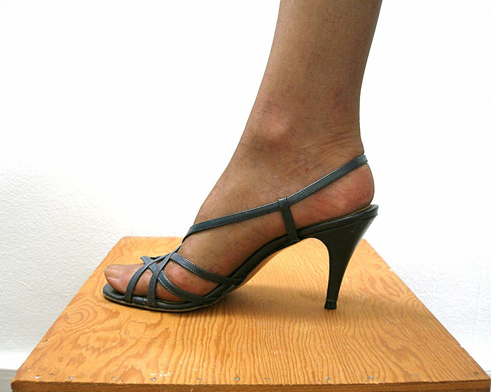 Navy Blue High Heel Sandals Vintage 1980s Strappy Sandals