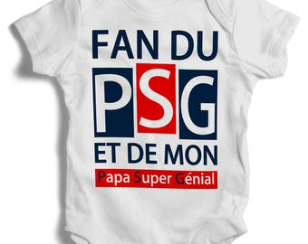 Customizable fan PSG and super awesome dad onesie Bodysuit