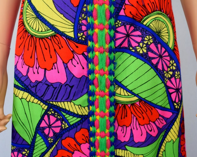 Vintage 1960's The LILLY PULITZER PsYcHeDeLiC Yarn Trimmed MoD HiPPiE Couture Hawaiian Skirt Size S