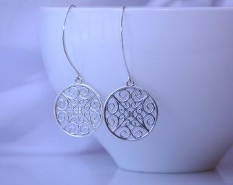 Sterling silver earrings. Everyday modern earrings. Sterling silver drop earrings