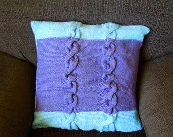 Knitted pillow, cushion cover, blue and purple