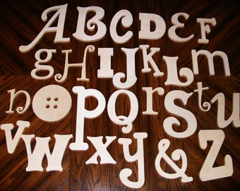 Unfinished Wooden Alphabet Set in Mixed Fonts and Sizes, Wooden Letters, Nursery Wall Decor ABC Alphabet Wall