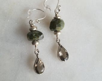 Sterling Silver Teardrop Earrings, Smoky Quartz, Verdite Dangles